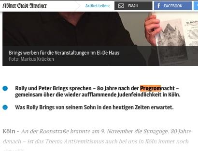 Auf einer Webseite des Kölner Stadt-Anzeigers steht progrom