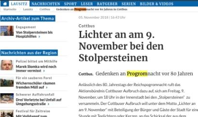 Auf einer Webseite der Lausitzer Rundschau steht progrom