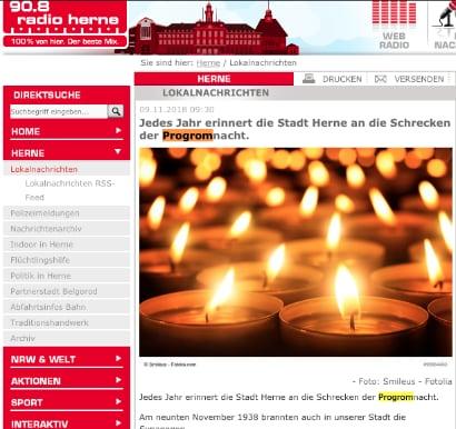 Auf einer Webseite von Radio Herne steht progrom
