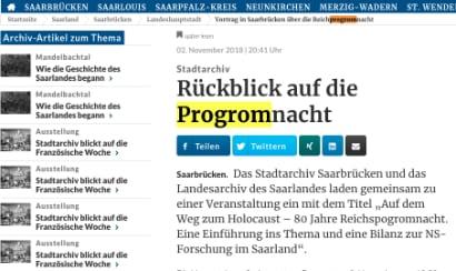 Auf einer Webseite der Saarbrücker Zeitung  steht progrom