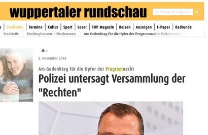 Auf einer Webseite der Wuppertaler Rundschau steht progrom