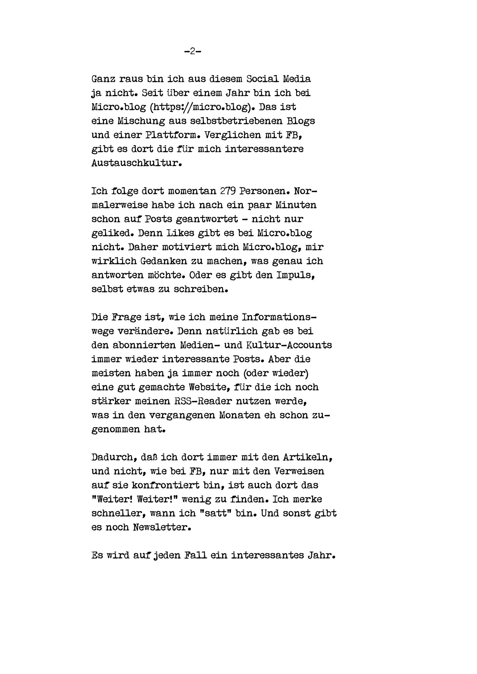 Schreibmaschinentext Seite 2 - es gibt ein Posting mit vorlesbaren Text, Link zu Beginn des Postings