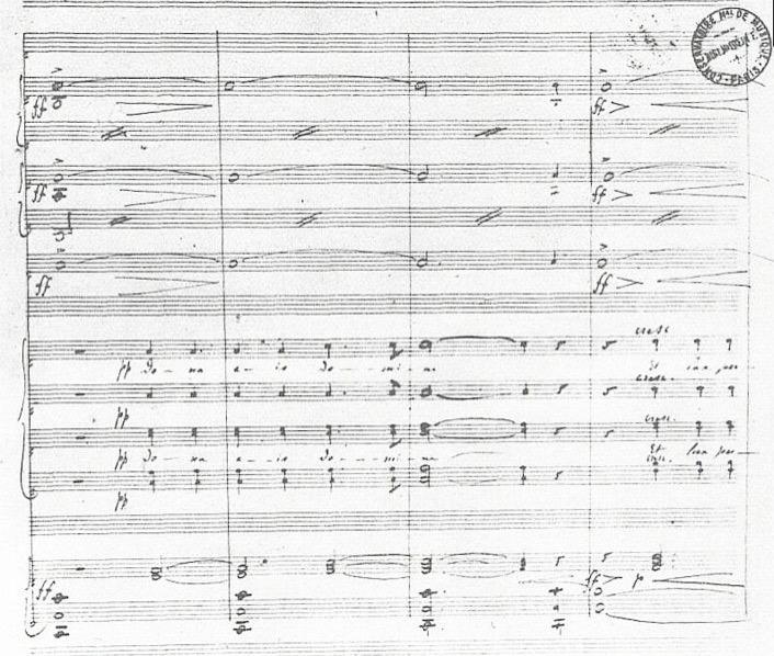 Seite aus dem Noten-Manuskript zum Requiem von Gabriel Faure